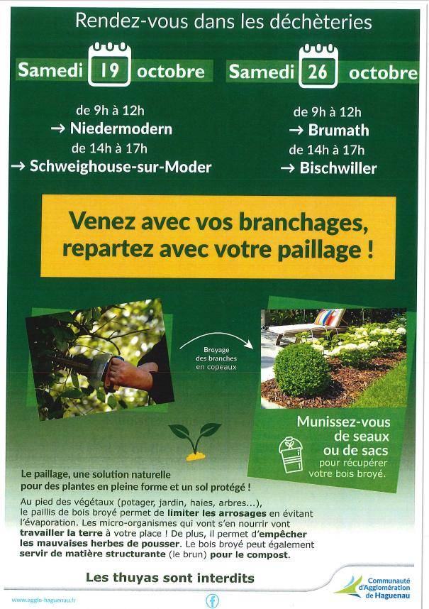Opération broyage de déchets verts